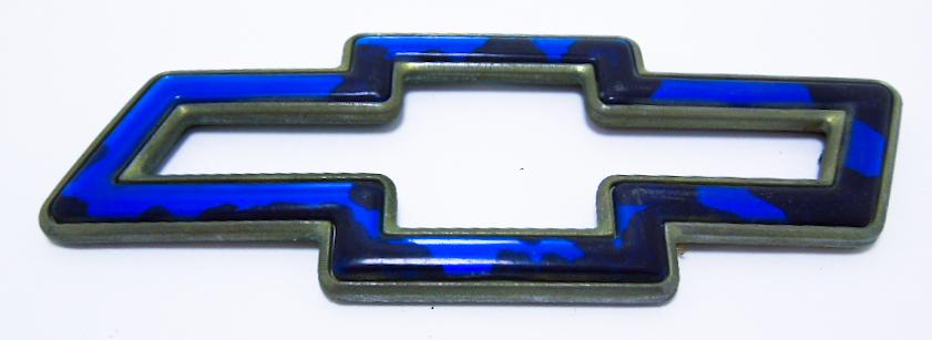"""Эмблема б/у """"Chevrolet"""" контурная синяя 135х50мм"""