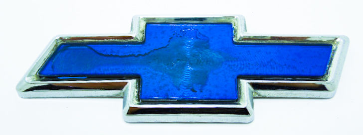"""Эмблема б/у """"Chevrolet"""" синяя 110х40мм"""