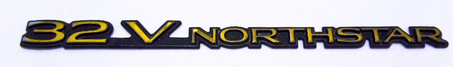 """Надпись б/у """"32V NORTHSTAR"""" золото-чёрная 190х14мм"""