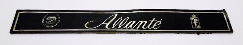 """Надпись б/у """"Allante"""" чёрная 130х20мм"""